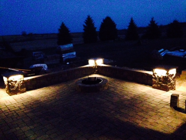 Paver Patio, Seat Wall, Firepit w/Lighting